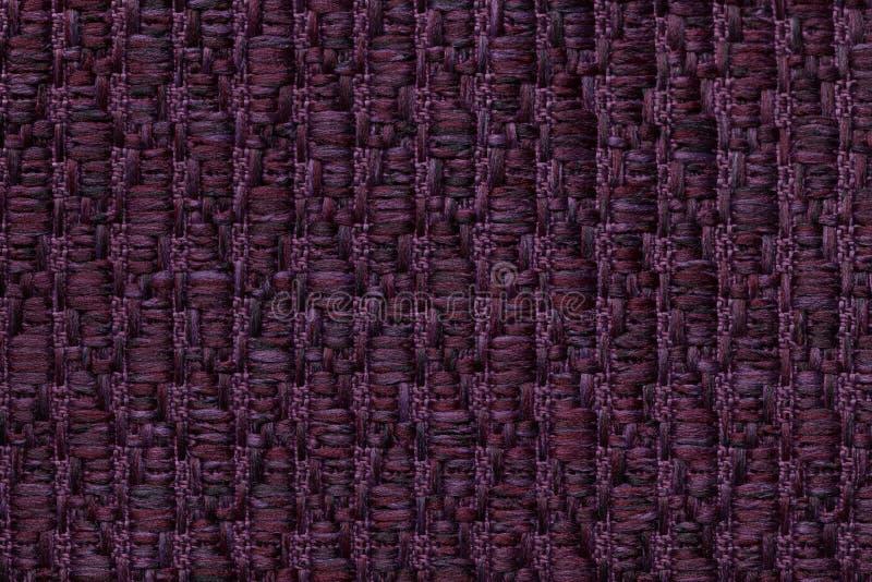 Ciemne purpury dziali woolen tło z wzorem miękka część, wełnisty płótno Tekstura tekstylny zbliżenie zdjęcie stock