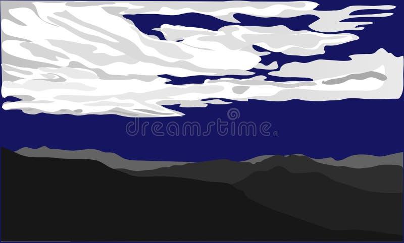 Ciemne sylwetki wzgórza z pustyni i bielu chmurami na zmroku - błękitny ackground również zwrócić corel ilustracji wektora ilustracja wektor