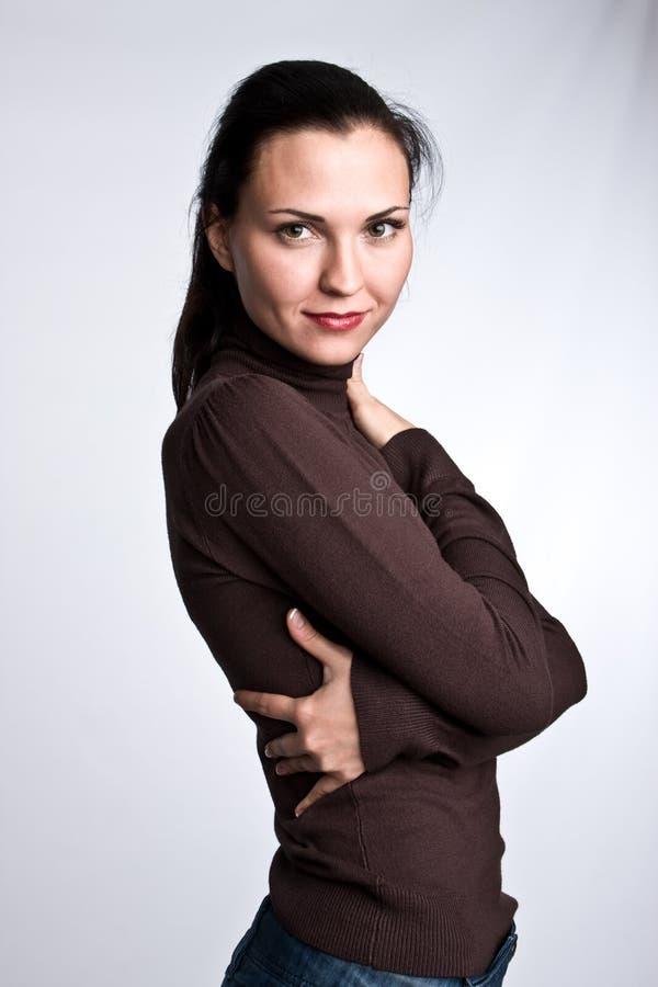 ciemne włosy g - girl i portret obraz stock