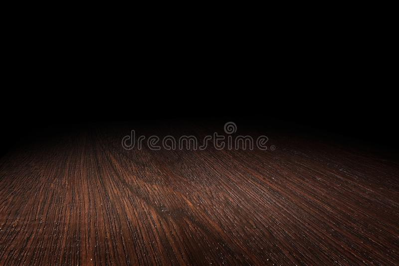 Ciemnego brązu drewnianej podłogowej tekstury perspektywiczny tło dla pokazu lub montażu produkt, Wyśmiewa w górę szablonu dla tw zdjęcia royalty free