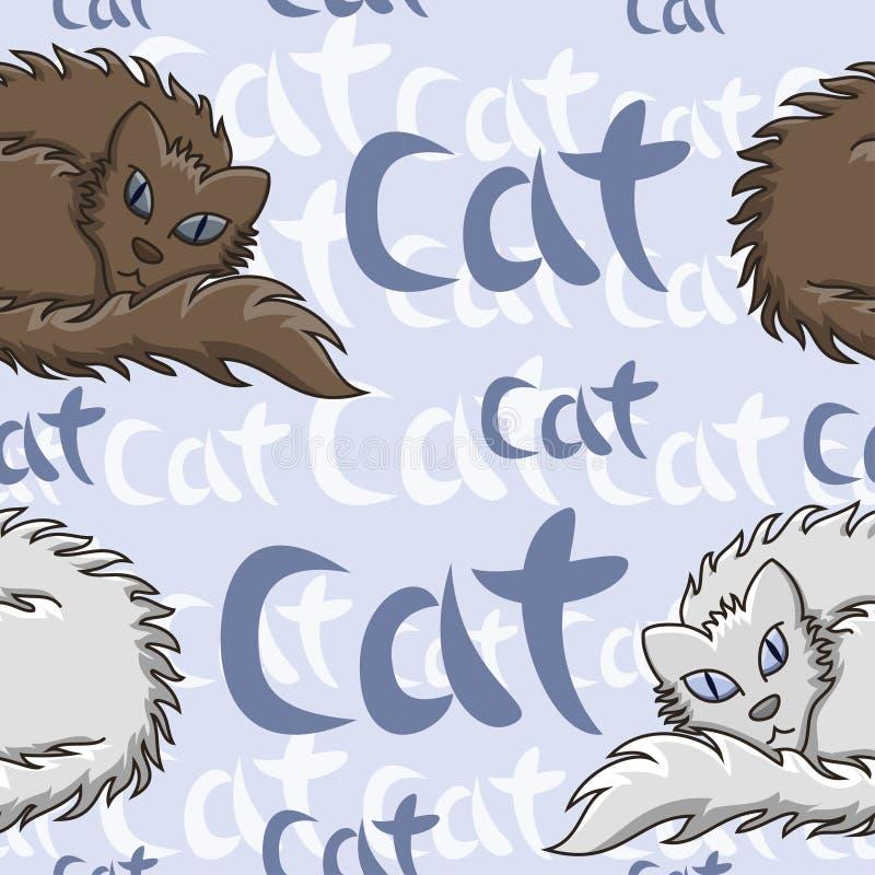 Ciemnego Brown I Białego Puszystego kota Bezszwowy wzór r royalty ilustracja