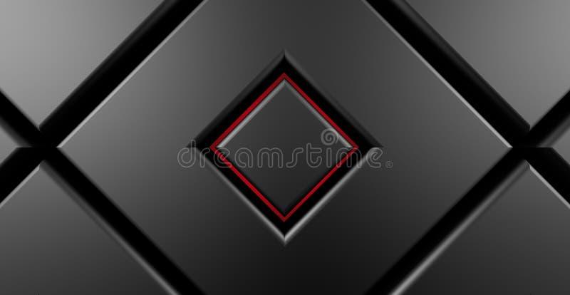 Ciemnego metalu placu czerwonego nowożytny tło 3d odpłaca się royalty ilustracja
