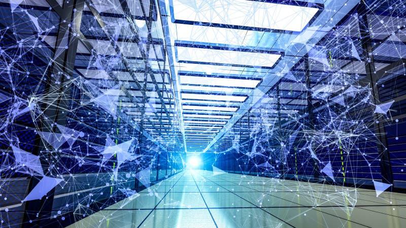 Ciemnego serweru centrum danych izbowy magazyn z błękitów światłami 3D odpłaca się royalty ilustracja