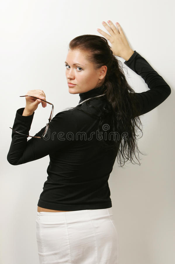 ciemnej dziewczyny z włosami portret obrazy royalty free
