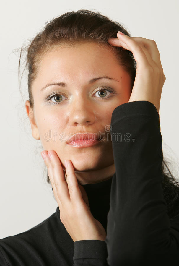 ciemnej dziewczyny z włosami portret obrazy stock