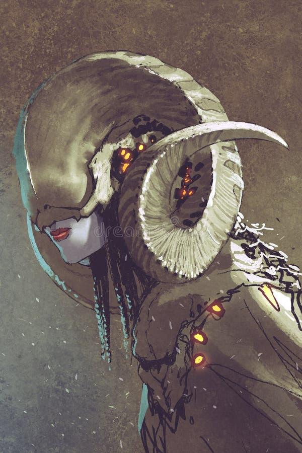 Ciemnej fantazi ludzka istota z fryzującymi rogami royalty ilustracja