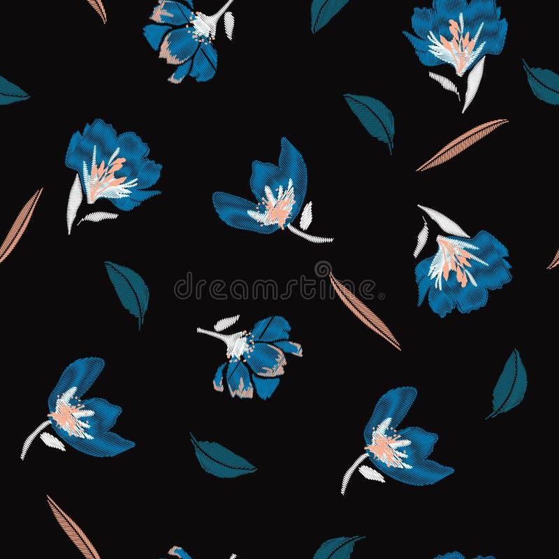 Ciemnej nocy kwiecista broderia kwitnie, wiosna bezszwowy wzór ilustracja wektor
