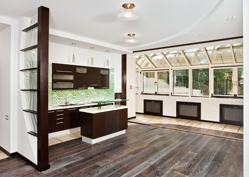 ciemnej rysunku podłoga kuchenny nowożytny pokój obraz stock