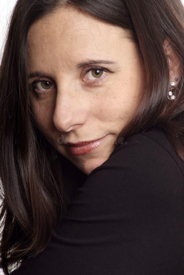 ciemnej twarzy z włosami kobieta zdjęcie stock