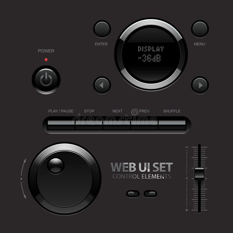 Ciemni Błyszczący sieci UI elementy. Guziki, zmiany ilustracji