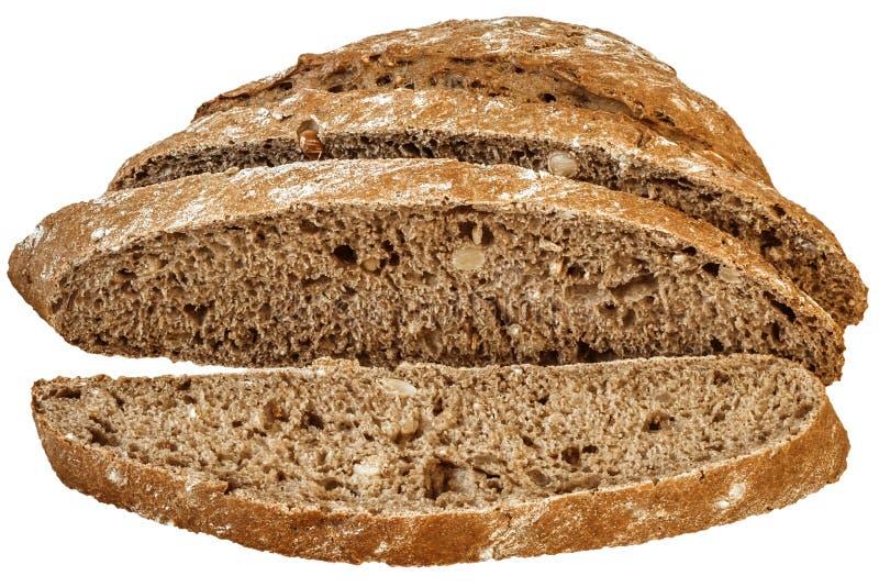 Ciemni Całkowi Multigrain chleba plasterki Odizolowywający na Białym tle obraz stock