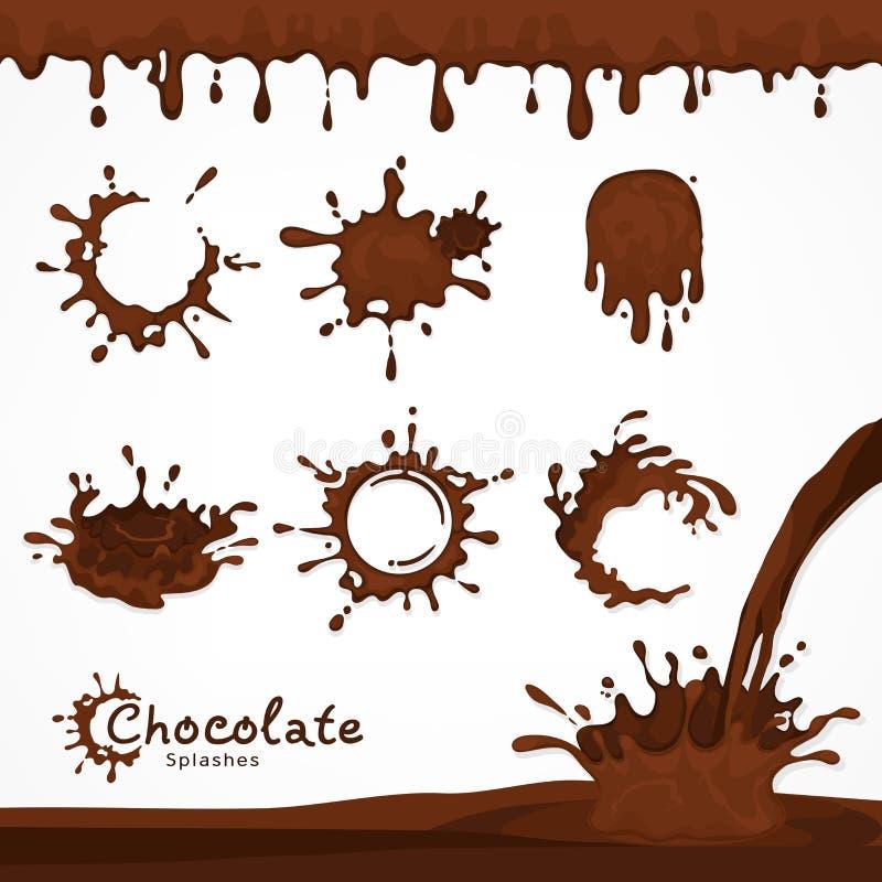 Ciemni czekolada kleksy, pluśnięcie i ilustracji
