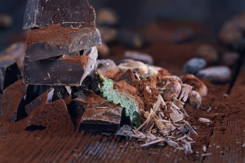 Ciemni czekoladowi kawałki, kakaowy proszek i kakaowe fasole, obrazy royalty free