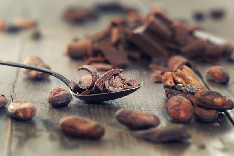 Ciemni czekoladowi kawałki, kakaowy proszek i kawowe fasole, zdjęcie stock