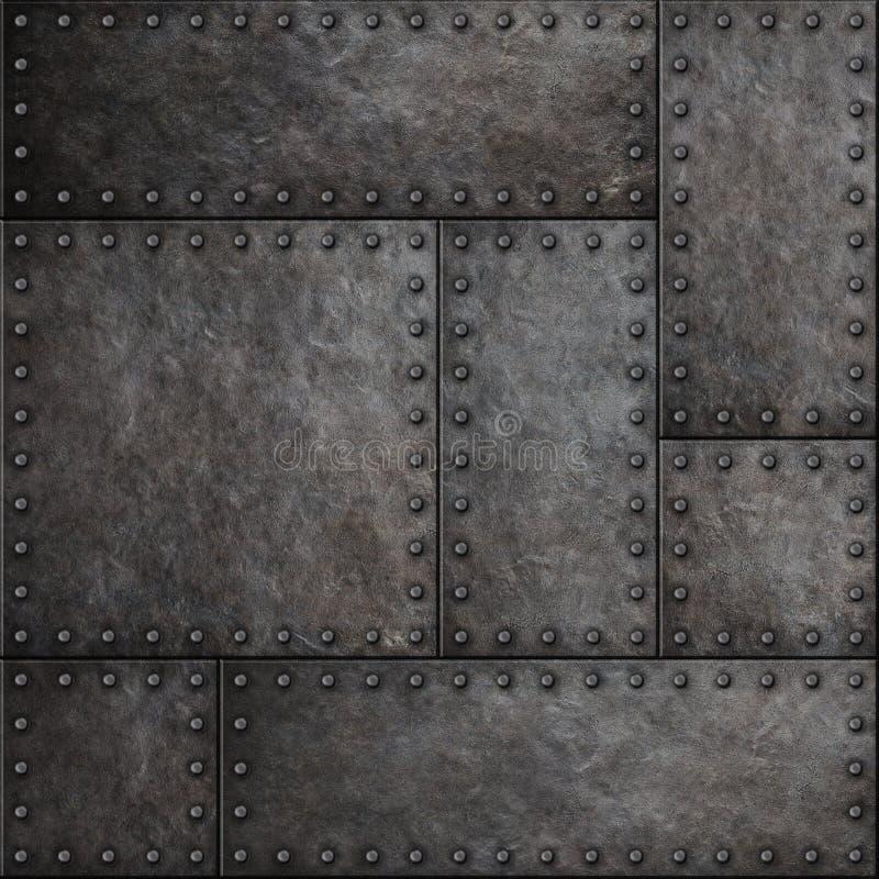 Ciemni metali talerze z nitu bezszwowym tłem teksturą lub zdjęcie royalty free