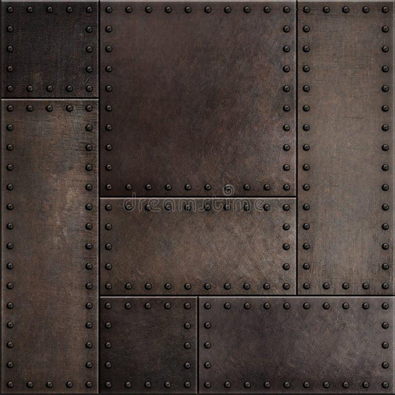 Ciemni ośniedziali metali talerze z nitu bezszwowym tłem teksturą lub obraz royalty free