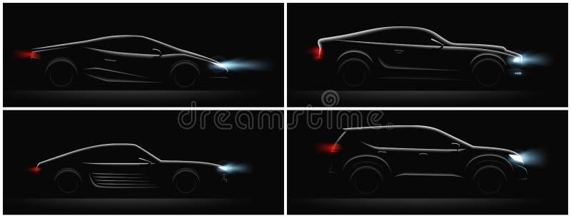 Ciemni samochodów profile Ustawiający ilustracji