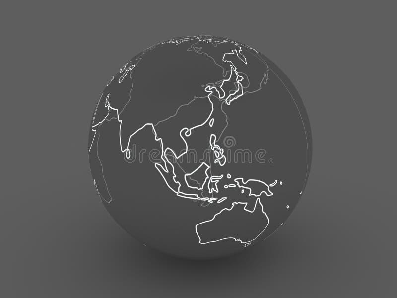 ciemności globus azji royalty ilustracja
