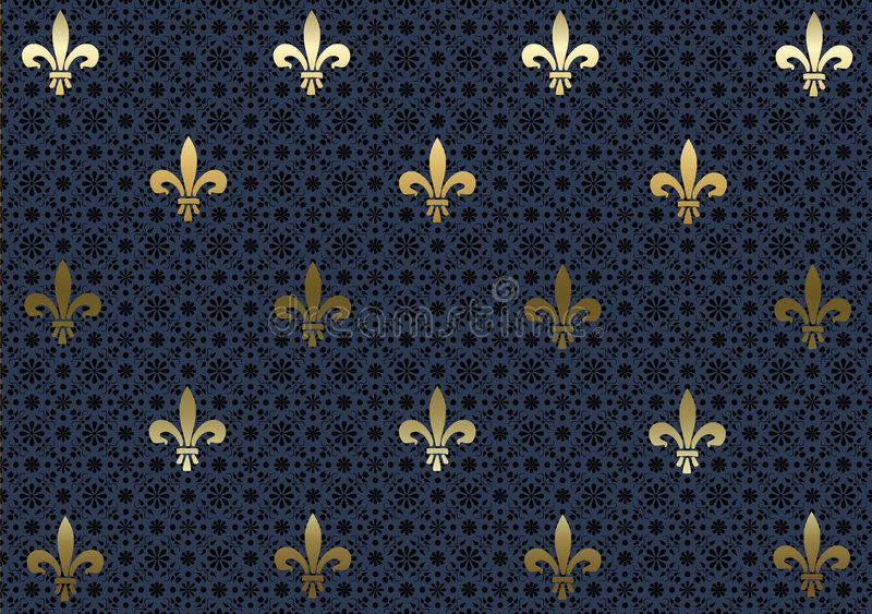 Ciemności tła Fleur De Lis niebieska tapeta ilustracji