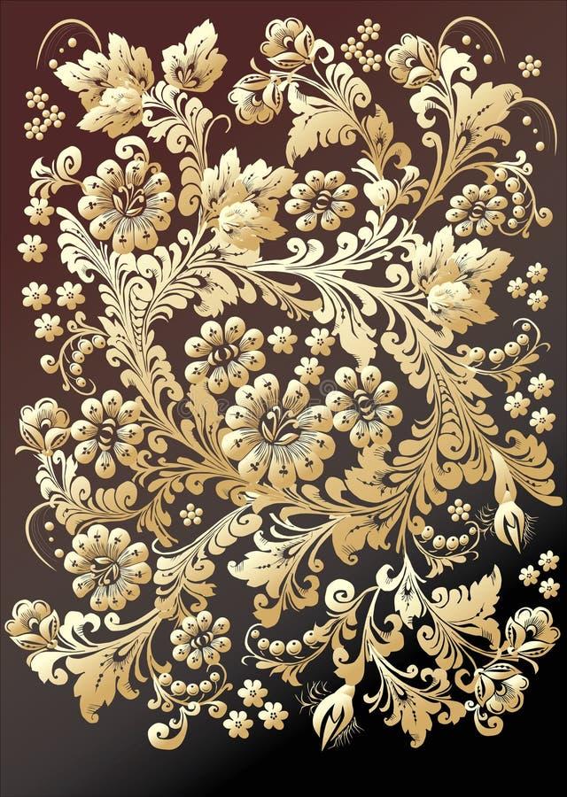 ciemno tła ornament złota royalty ilustracja