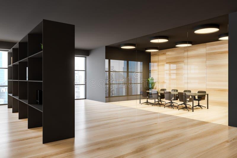 Ciemnoszara sala posiedzeń biurowych z zakładką ilustracja wektor