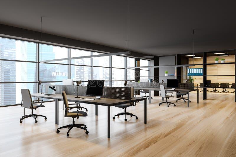 Ciemnoszare biuro z salą posiedzeń ilustracja wektor