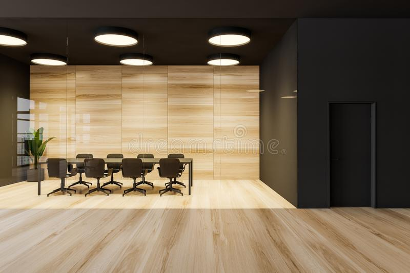 Ciemnoszary i drewniany pokój konferencyjny royalty ilustracja