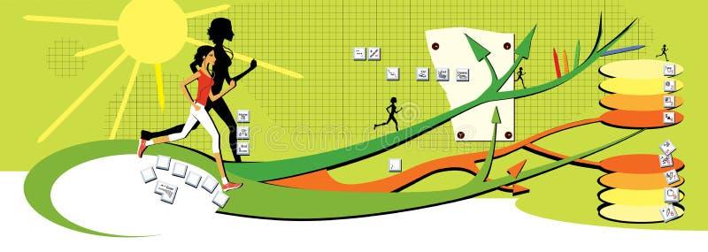 Ciemnowłosa dziewczyna biega wzdłuż kilkuramiennych ścieżek na zielonym tle Mapa móżdżkowy, zdrowy styl życia, guziki klawiatura ilustracja wektor