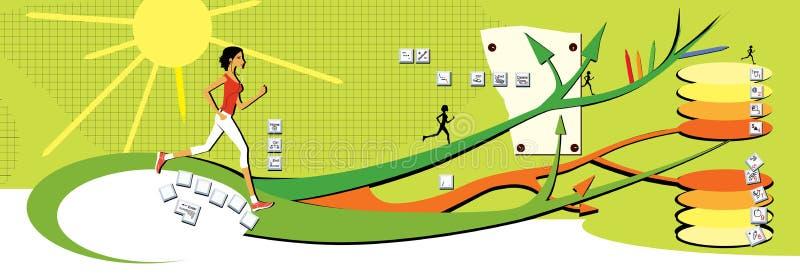 Ciemnowłosa dziewczyna biega wzdłuż kilkuramiennych ścieżek na zielonym tle Mapa móżdżkowy, zdrowy styl życia, guziki klawiatura royalty ilustracja