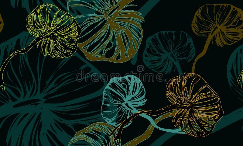 Ciemnozielony grzybowy botaniczny wzór zdjęcie royalty free