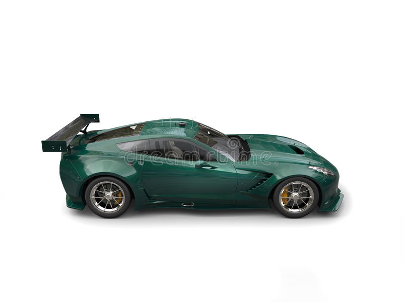 Ciemnozielony wytrzymałość samochód wyścigowy - boczny widok obrazy royalty free