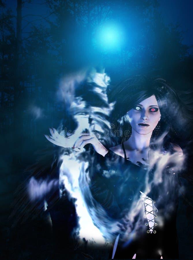 Ciemny anioł w lesie ilustracji