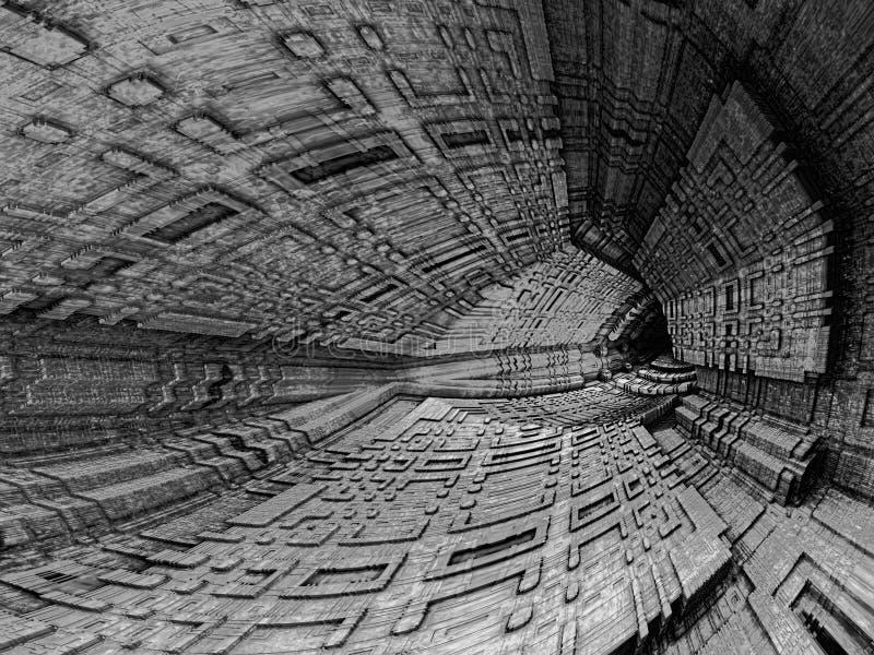 Ciemny cavern - abstrakta cyfrowo wytwarzający wizerunek royalty ilustracja