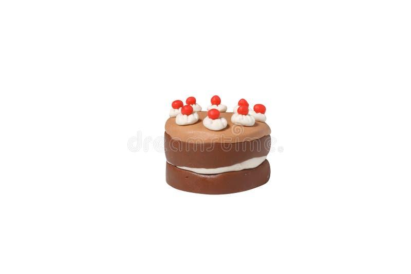 Ciemny czekoladowego torta model od japońskiej gliny zdjęcie stock