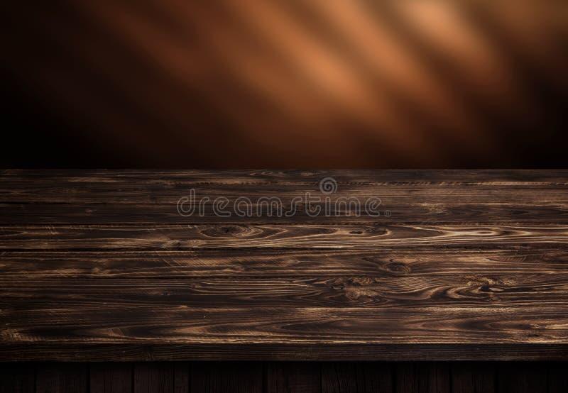 Ciemny drewno stół, brown drewniany perspektywiczny wnętrze obraz stock