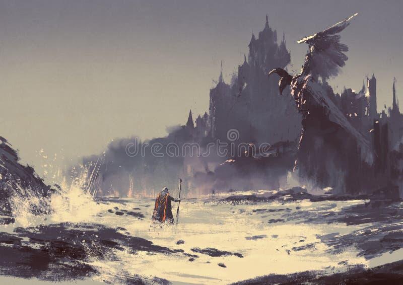 Ciemny fantazja kasztel royalty ilustracja