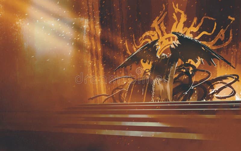 Ciemny fantazja tron ilustracja wektor