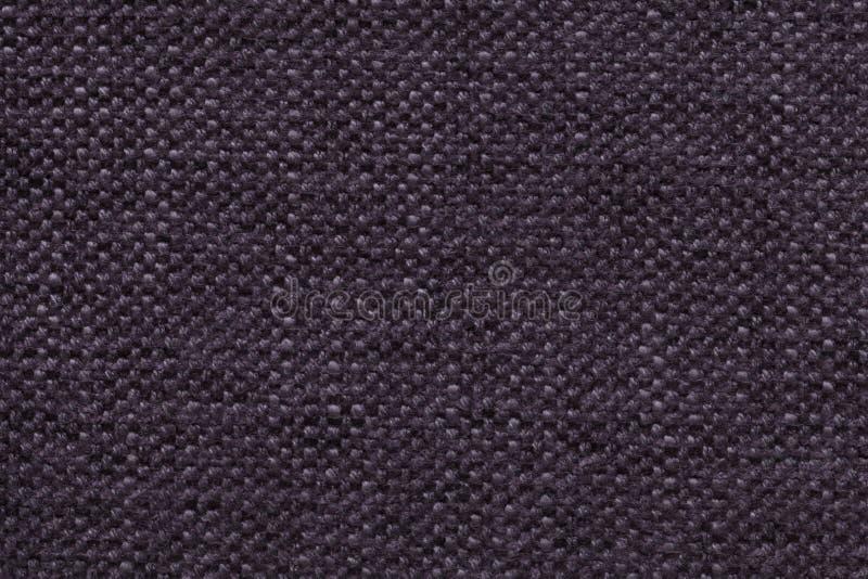 Ciemny fiołek dział woolen tło z wzorem miękka część, wełnisty płótno Tekstura tekstylny zbliżenie zdjęcia royalty free