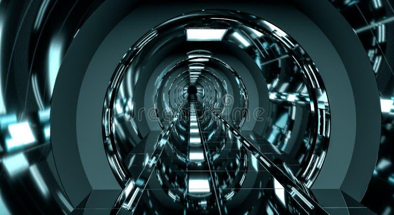 Ciemny futurystyczny statku kosmicznego korytarza 3D rendering ilustracji