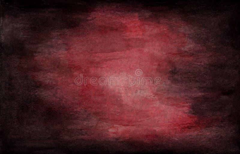 Ciemny grunge textured Czerwone wino akwareli tekstury abstrakcjonistyczny tło ilustracji
