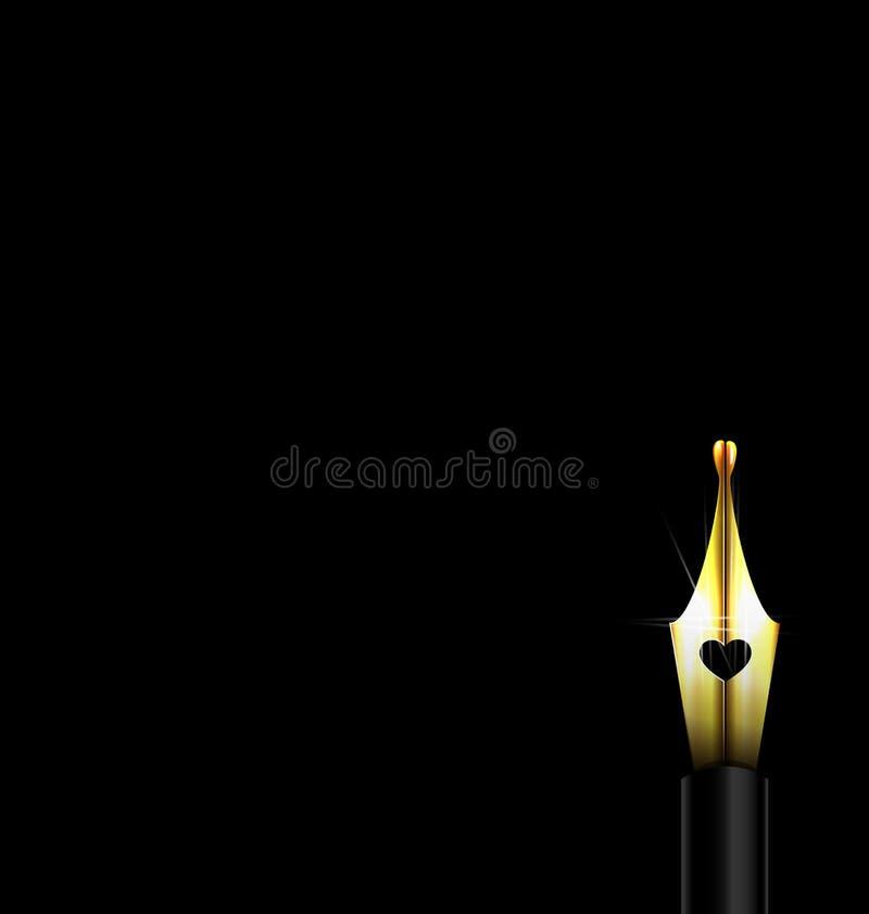 Ciemny i złoty pióro ilustracja wektor
