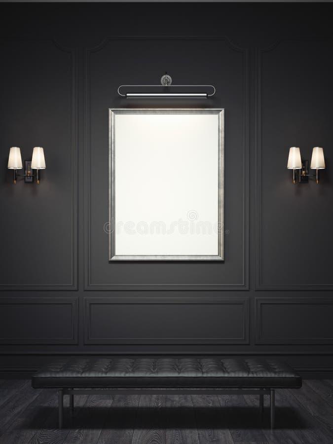 Ciemny klasyczny wnętrze z srebną obrazek ramą świadczenia 3 d ilustracji
