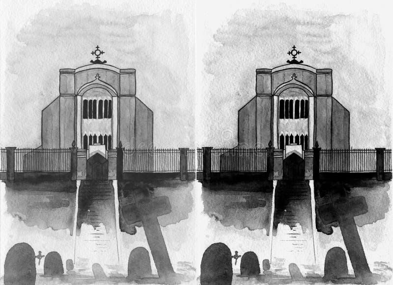Ciemny kościół z cmentarzem w pierwszoplanowej akwareli tak jakby rama od filmu czarny i biały royalty ilustracja