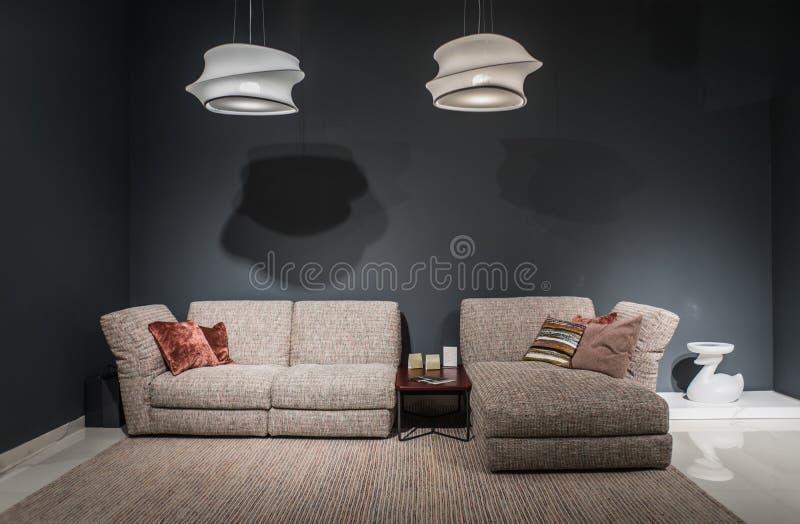 Ciemny loft wygody wnętrze zdjęcie royalty free