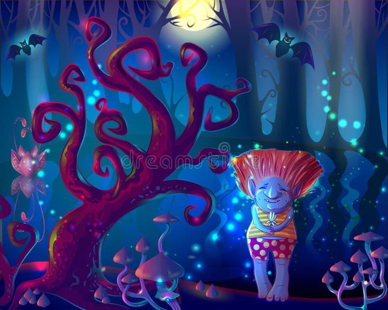 Ciemny Magiczny Zaczarowany Lasowy szablon ilustracja wektor