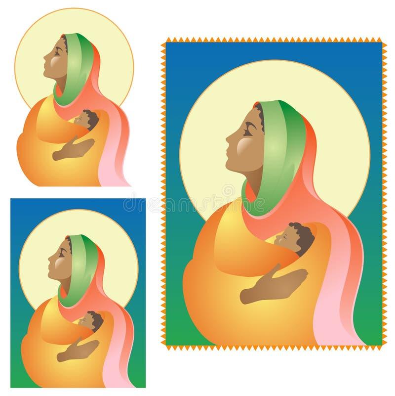 ciemny Mary narodzenie jezusa royalty ilustracja