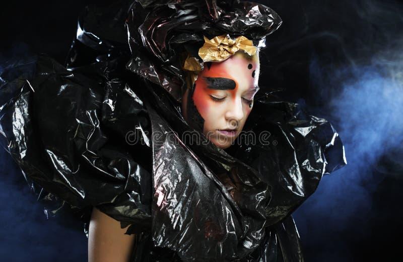 Ciemny Piękny Gocki Princess, młoda kobieta, Halloween przyjęcie obrazy royalty free