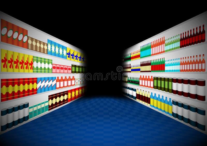 Ciemny supermarket odkłada korytarz royalty ilustracja