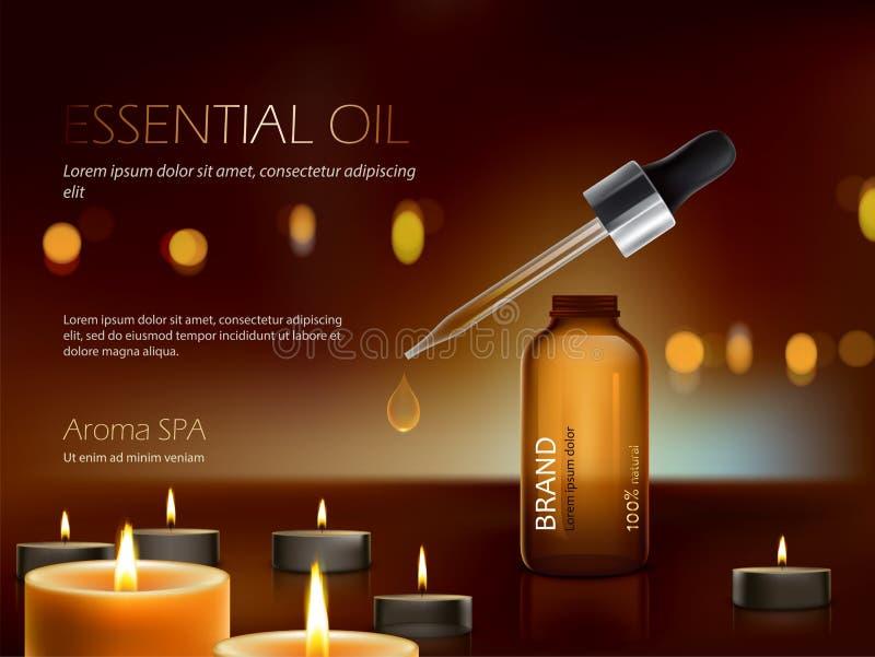 Ciemny tło z odżywki nawilżania premii kosmetycznymi produktami i płonącymi świeczkami royalty ilustracja