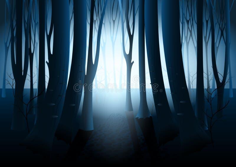 Ciemny tajemniczy las royalty ilustracja